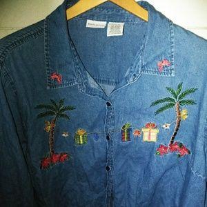 VTG Ugly Christmas Jean Denim Shirt 22W/24W